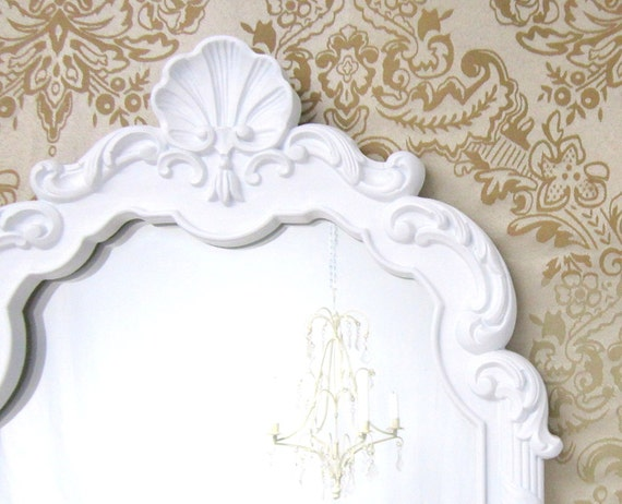 Shabby chic mirror for sale shell motif beach cottage home for White framed mirrors for sale