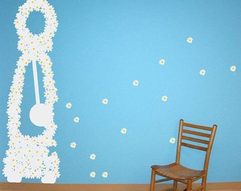 Flying Daisies Large Grandfather Clock Vinyl Wall Decal