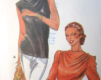 Butterick 6910 Vintage 80's Cowl Neck Sleeveless or Long Sleeve Blouse Pattern - 1980's Blouse - Size 12 Bust 34