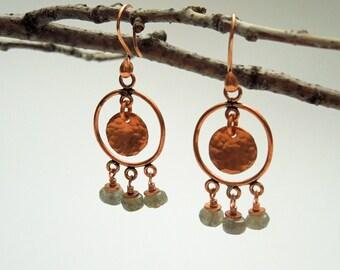 OOAK Copper Labradorite Chandelier Earrings