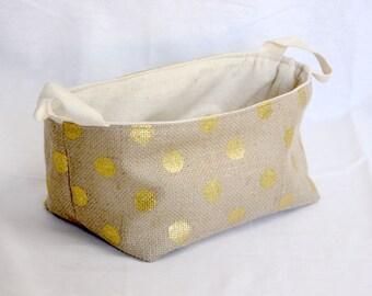 Jute Fabric Basket / Organizer / Bin / Toy Storage - Gold Polka Dots