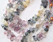 Brand New, All 7-8mm Pear,1/2 Strand,Truly Rare AAA Quality MULTI RUTILATED Quartz Pear Briolettes,Great Item at Low Price