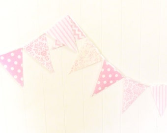 Shabby Chic Fabric Banner, Bunting, Garland Pennant Flags, Pink, Wedding Decor, Photo Prop, Baby Nursery Decor, Birthday Party