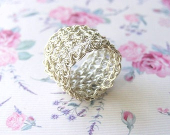 Fine Silver Ring, Wire Crochet Ring, Wide Band Ring, Statement ring, Wide Silver Ring, Silver Lace Ring