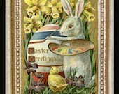 Easter Bunny Painting Party Miniature Dollhouse Art Picture 6832