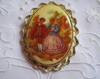 Vintage Old Time Gentleman and Lady Pictured Porcelain Brooch/Pendant
