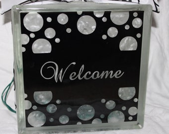 Welcome DIY Decal for Glass Block