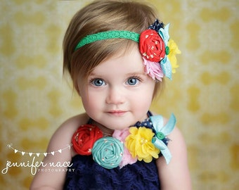 Pippi - red, aqua, navy, green and yellow headband and neckalce set
