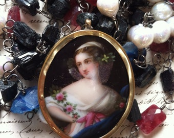 MAIDEN of SPRING - Triple Strand Necklace with Tourmaline, Jade, Pearls, Agate and Beautiful Portrait Miniature
