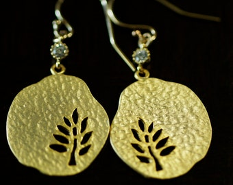 Hammered Tree Disc and Cubic Zirconia Earrings