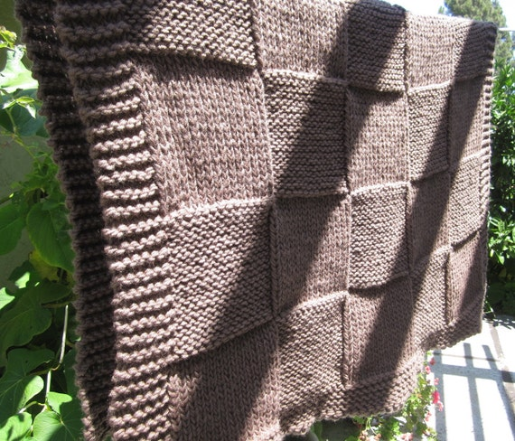 Knit baby blanket, throw, lap blanket (brown color)