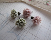 Pale . post earrings . girls jewelry . resin floral . gray blush