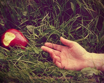 Poisoned Apple, Fine Art Photo, 5x7, Photograph, Print, Snow White, Red Apple, Hand, Fairy Tale, Photorever, Andrea Clare, Green, Once Upon