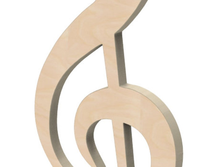 "Wooden G Clef Music Symbol Door or Wall Hanger 12"" tall Custom Made."