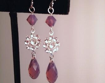 Swarovski Crystal Earring, Crystal Dangle, Swarovski Cyclamen Opal, Purple Crystal, Bridesmaid, Wedding, Sterling Silver, Dangle, Rhinestone
