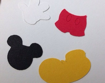 100 Mickey Mouse Paper Die Cut Shapes - 1/2 inch
