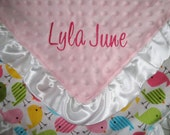 Personalized Ruffled Sweet Birds and Minky Dot Blanket 18 x 22 Lovey Size