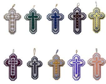 Plastic Canvas Rustic Jeweled Set of Ten Crosses PDF Format Instant Download