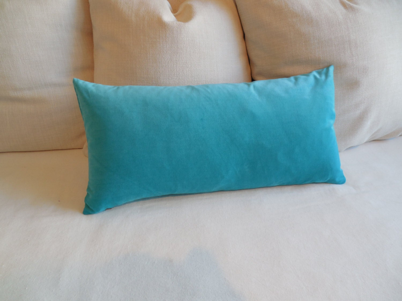 bright BLUE velvet lumbar decorative bolster pillow 13x26