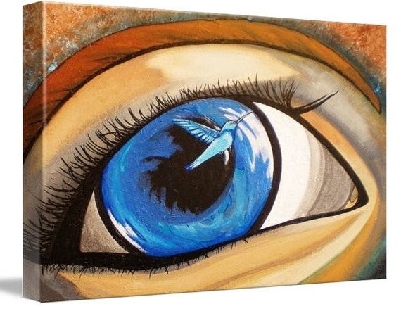 LE Deep Canvas Wrap Giclee Print of Original Painting New Beginnings Amber Elizabeth Lamoreaux Surreal Eye Art Modern Blue Hummingbird
