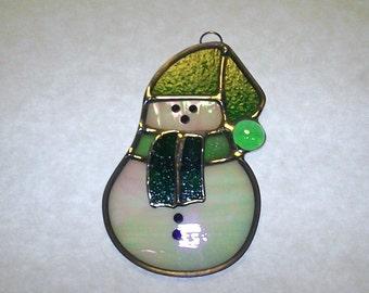 Green & White Snowman Sun Catcher