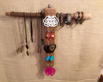 Upcycled Jewelry Organizing Display (Wood Block with Post)