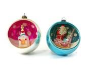 Vintage Mercury Glass Christmas Ornaments, Diorama, Japan