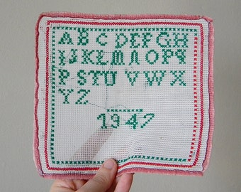 vintage embroidery sampler alphabet cross stitch