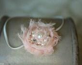 Baby Headband, Pink Headband, Pearl and Rhinestone Headband, Newborn Headband, Baby Girl Photo Prop, Newborn Props, RTS, Pearl Headband