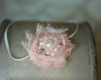 Baby Headband, Blush Pink Headband, Pearl & Rhinestone Headband, Newborn Headband, Baby Girl Photo Prop, Newborn Props, RTS, Pearl Headband