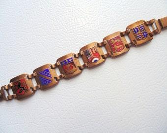 ENAMEL LINK souvenir BRACELET Coat of Arms Crests Shield England 1920s - 1940s