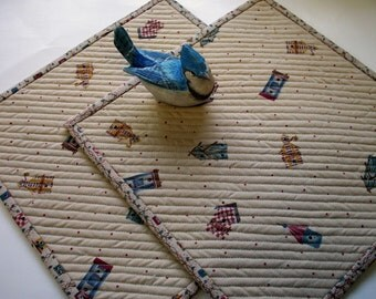 Birdhouse Mug Rugs Snack Mats Placemats Quilted Set of 2