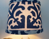 Chandelier Shade in new iconic design in porcelain blue.  Mini drum lamp shade that would look great on your chandelier or sconce.