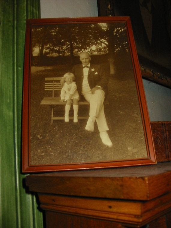Vintage Photo 1930s Portrait Gramps & Child Old Little Girl Photo With Spiffy Gent Al Fresco Framed