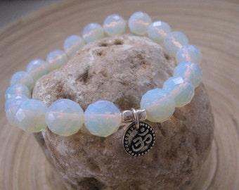 Om Charm Bracelet, White Bead Bracelet, Beaded Bracelet, Elegant Opalite Beaded Bracelet with Sterling Silver Om Charm, Yoga Bracelet