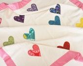 RESERVED - Personalized Organic Baby Blanket with Hearts for Baby Girl -- Rainbow