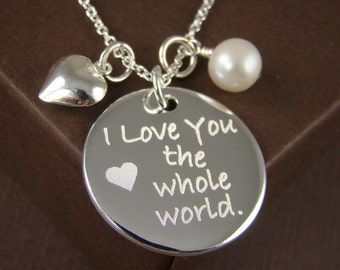 I Love You the Whole World Necklace Pendant - Personalized Jewelry Valentine's Gift for Her - Engraved Custom Jewelry 925 Sterling Silver