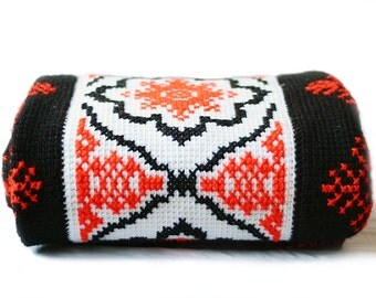 Large Blanket | Vintage | Double - Queen Size | Moorish | Red | Black | White