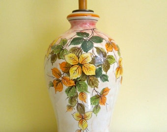 Vintage Ceramic Table Lamp, Wooden Base, Fall Leaves Yellow, Orange, Green,  Large Jar Style, On Sale