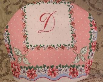 Tea or Chocolate Cozy Monogram D Hand Embroidery Handkerchief Print