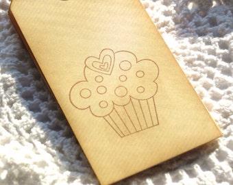 Cupcake Handstamped Tags 6pcs