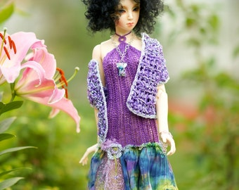 Set Silk OOAK dress Jacket Jewelry Bracelet Necklace for SD Dollfie Ooak Abstract sd10 sd13 ball jointed doll dress Bjd dress Bjd knitting