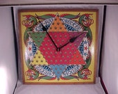 Recycled Chinese Checkers Game Board Wall Clock
