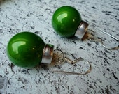 Bright Green Christmas Ornaments - Earrings