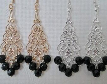 Black Bridesmaids Earrings Gold Filigree Teardrop Silver Filigree Teardrop Chandelier Dangle Bridal Jewelry Wedding Jewelry Choice of Drop