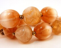 Vintage Lisner Necklace Peach Tan Lucite Beaded Fiber Optic