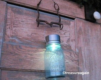 Rustic Horse Bit Jar Lantern Recycled Garden Decor Mason Jar Solar Light Upcycled Lighting Horse Decor Solar Lantern