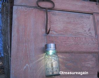 Recycled Garden Solar Light Rustic Hay Hook Garden Decor Mason Jar Solar Light Upcycled Gardening Tools Ball Jar Solar Lantern