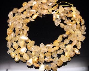 1strand - natural golden rutilated quartz faceted tumbled