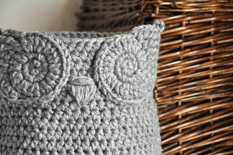 Free Crochet Pattern Owl Basket : Grey Owl Basket Crocheted Bin Yarn Holder Woodland Nursery